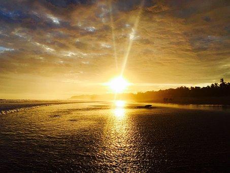 Sunset, Ocean, Coast, Evening, Sky, Clouds, Landscape