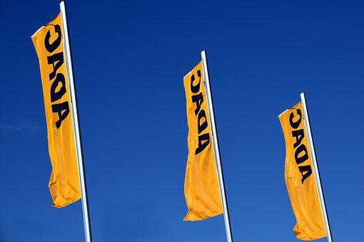 Adac, Flags, Yellow, Yellow Flag, Blow, Waving Flags