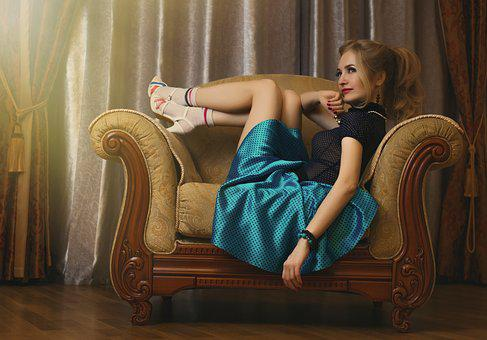 Pin-up Girl, Girl, Beautiful, Model, Vintage, Armchair