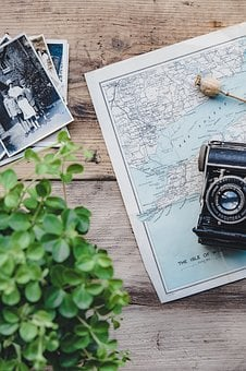 Camera, Vintage, Plant, Map, Flat Lay, Retro