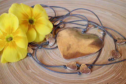 Spring, Hearts, Primroses, Necklace, Love, Emotions