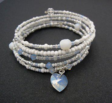 Jewelry, Bracelet, Beads, Heart, White, Fashion