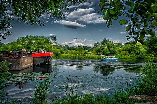 Ship, Kahn, Water, Havel, Hennigsdorf, Background Image