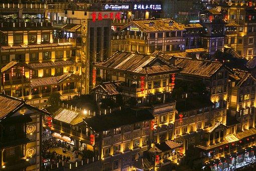 Chongqing, Hongya Cave, Night View, City
