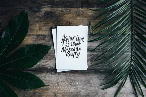 Flat Lay, Fern, Leaf, Table Top, Postcard, Typography
