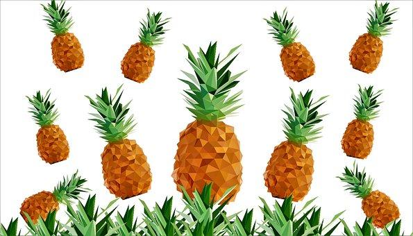 Pineapple, Print, Polygonal, Pattern, Tropical, Summer