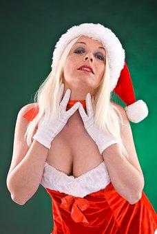 Girl, Woman, Sexy, Pose, Red, Christmas, Nicholas