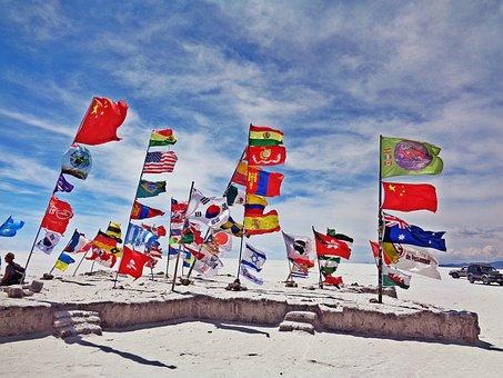 The Salar De Uyuni, Uyuni, Flags, Salt Desert, Bolivia