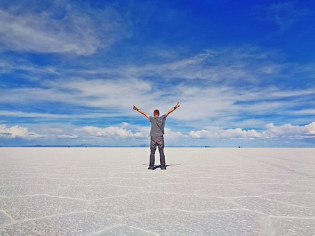 Uyuni, Salt Desert, Bolivia, Man, Freedom