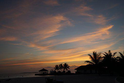 Sky, Maldives, The Night Sky, Sunset, Beach, Honeymoon