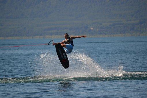 Wakeboard, Jump, Water, Lake, Chile, South, Villarica