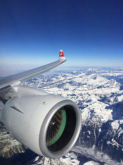 Plane, Swiss, Alps, Snow, Switzerland, Europe