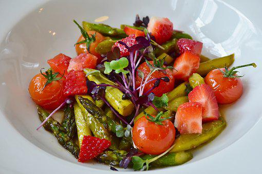 Salad, Strawberries, Asparagus, Cress, Tomatoes