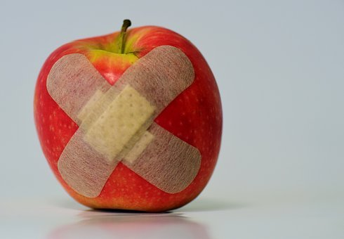 Apple, Patch, Injured, Association, Fruit, Food