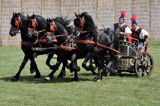 Biga, Frieze, Four Teeth, Roman, Horses, Cart