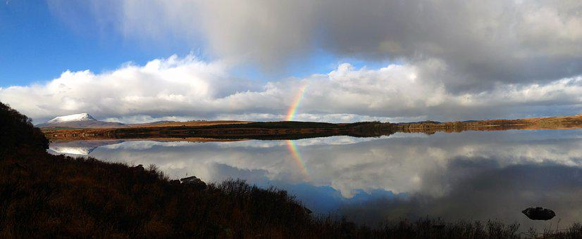 Calm Waters, Clouds, Ireland, Lake, Mountain, Rainbow