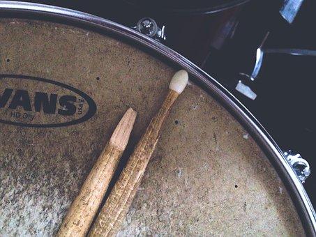 Broken Drumstick, Close-up, Dark, Dirty, Drum