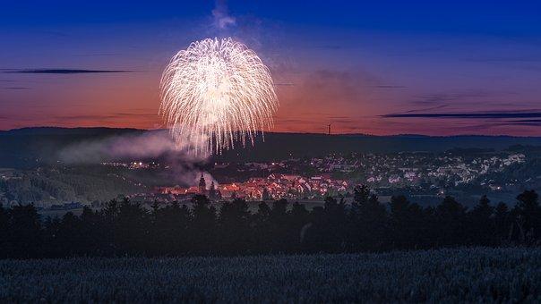 Fireworks, City, Dornstetten, Night, Long Exposure