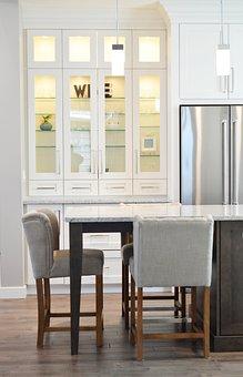 Kitchen, Cabinet, Counter, Chair, Refrigerator, Fridge