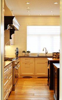 Kitchen, Counter, Stove, Oven, Interior, Home, Modern