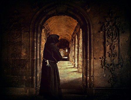 Monk, Man, Monastery, Archway, Cowl, Cloister, Arcade