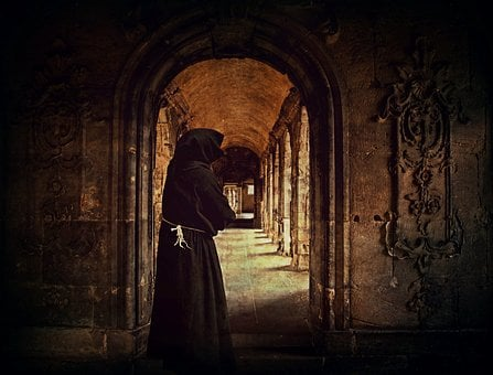 Monk, Man, Monastery, Archway, Cowl, Cloister, Arcade