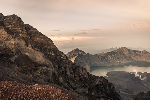 Dawn, Desert, Fog, Geology, Lake, Landscape, Mountain