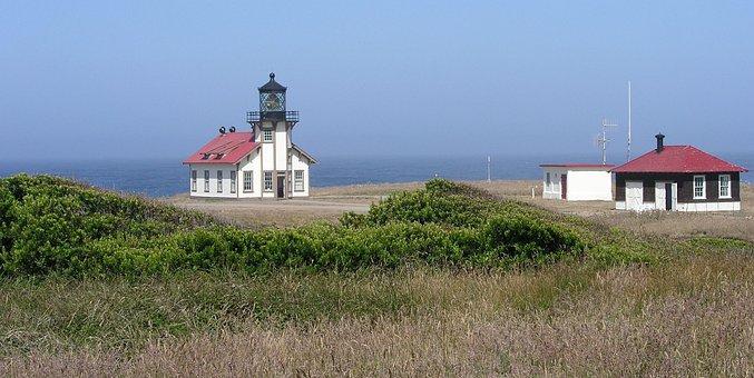 Lighthouse, Ocean, Cabrillo Light Station, Mendocino