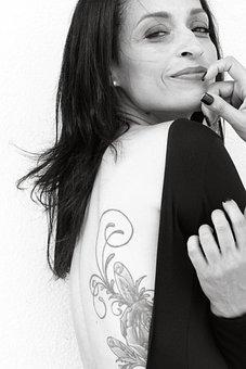 Tattoo, Woman, Smile, Portrait, People, Female, Face