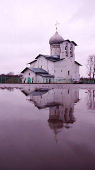 Pskov, Temple, Church, Reflection, Pond, Beautiful