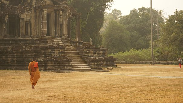 Cambodia, Monk, Orange, Temple, Asia, Religion, Culture