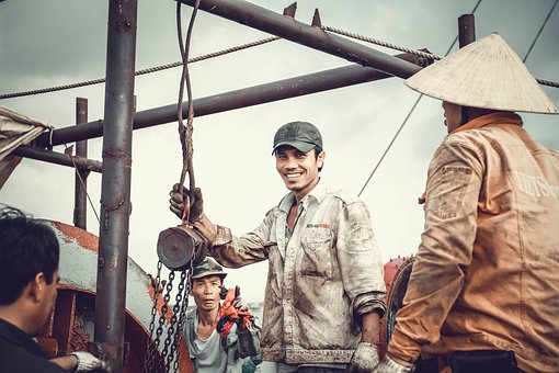 Labor, Repair, Sea, Smile, Tanker, Team, Vietnam, Work