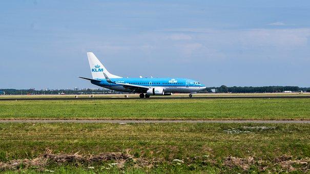 Plane, Schiphol, Klm, Blue, Royal, Airline, Airport