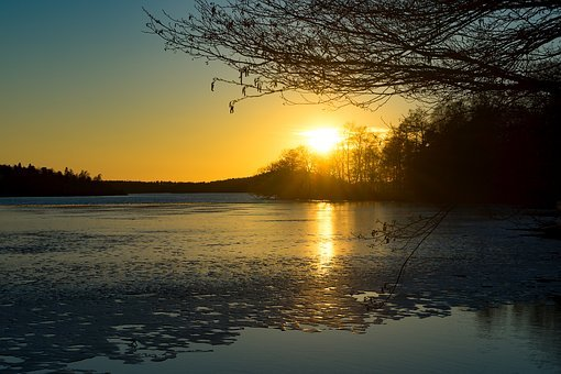 Sunset, Spring, Melting, Ice, Nature, Landscape