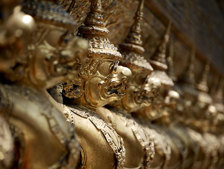 Statue, Bird, Temple, Creature, Army, Gold, Thailand