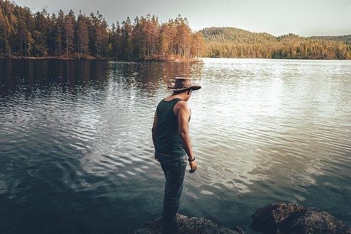 Back View, Boy, Conifers, Daylight, Fir Trees, Hat