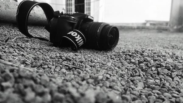 Black-and-white, Blur, Camera, Close-up, Equipment