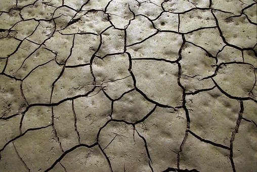 Mud, Drought, Soil, Cracks, Clay, Footprints, Earth