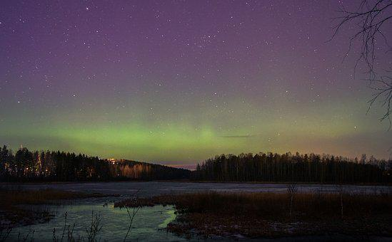 Norther Lights, Finland, Aurora, Finnish, Forest, Lake