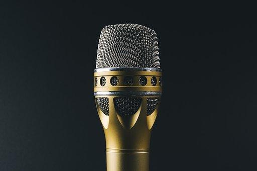 Audio, Classic, Gold, Metal, Mic, Microphone