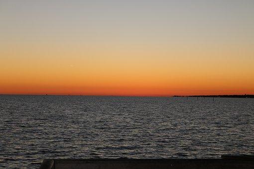 Beach, Dusk, Gulf, Gulf Of Mexico, Ocean, Sea, Sky
