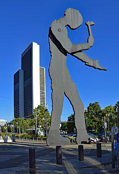 Frankfurt, Fair, Hesse, Germany, Hammering Man, Art