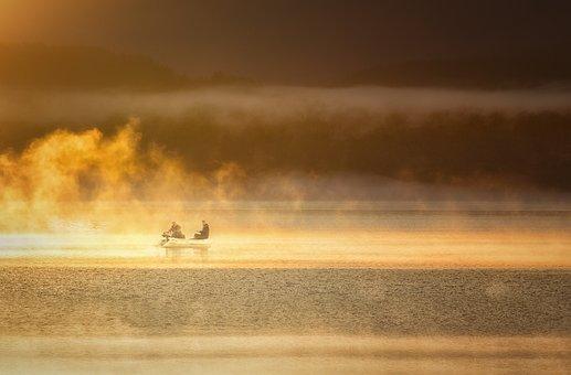 Fisherman, Foggy Lakes, Foggy Morning, Lake