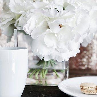 Coffe Mug, White Flowers, Macaron
