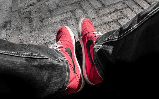 Red, Nike, Shoes, Man, Person, Sport Shoes