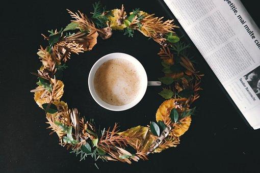 Coffee, Cup, Drink, Leaves, Mug, Newspaper, Paper