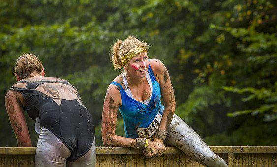Lady, Woman, Obstacle Run, Mud, Mud Race, Female, Young