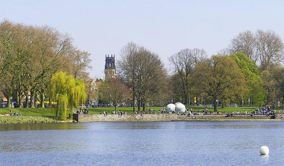 Aasee, Münster, Westfalen, Park, Giant Balls