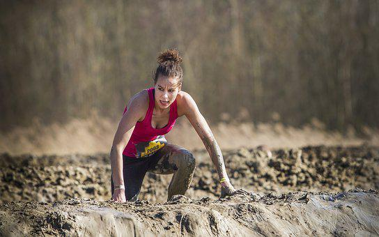Girl, Woman, Lady, Obstacle Run, Mud Race, Mud, Person