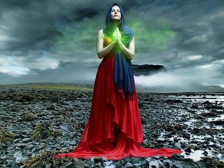 Woman, Female, Beauty, Lady, Illumination, Pray